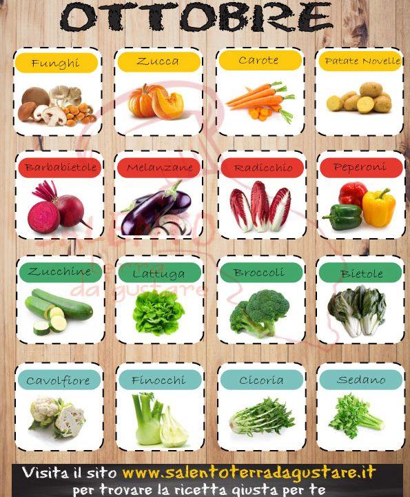 calendario verdure di stagione ottobre